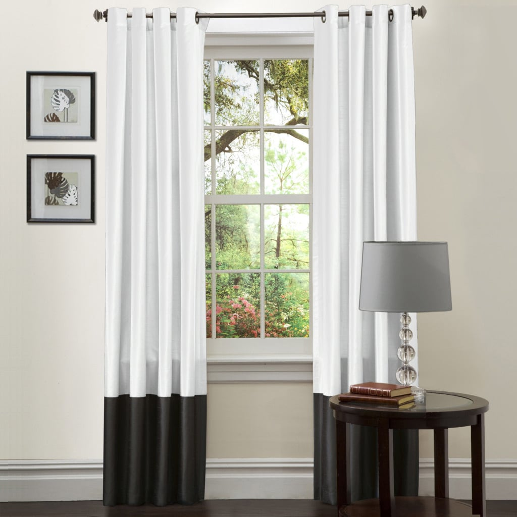 Lush Decor Black and White Prima 84-Inch Curtain Panels (Set of 2)