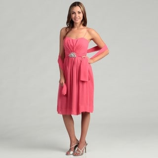 Eliza J Women's Coral Pleated Brooch and Scarf Dress