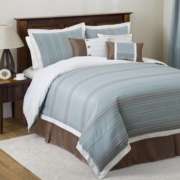 Lush Decor 'Haru' Blue/ Brown 7-piece Full-size Comforter Set