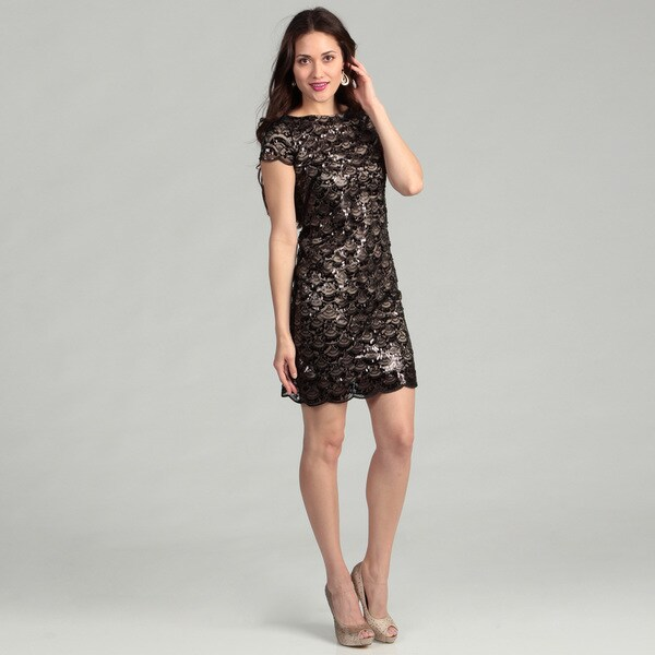 Eliza J Women's Black Sequined Lace Dress