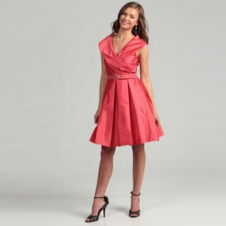 Eliza J Women's Coral Rhinestone Belted Dress