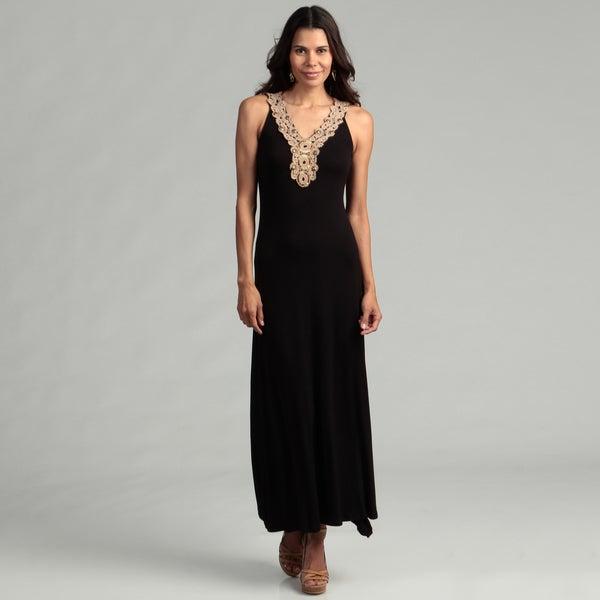Calvin Klein Women's Black Maxi Gold Neck Dress