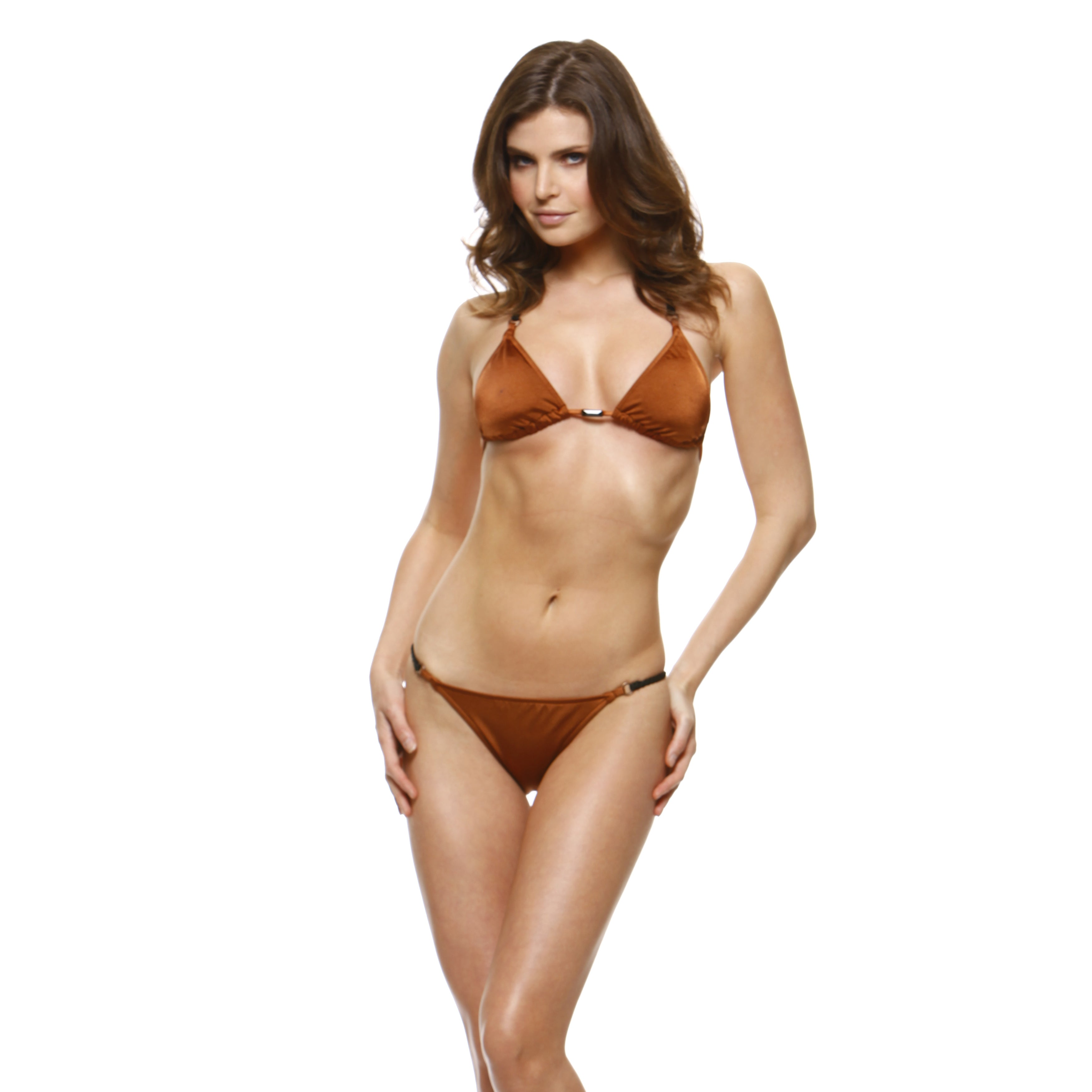 1 Sol Swim Women's Copper Solid Triangle Top Bikini