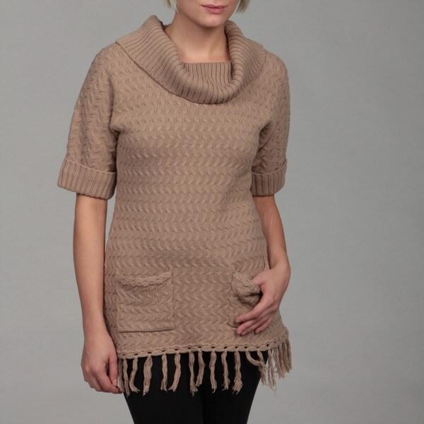 Premise Women's Beige Cuffed Ribbed Short-sleeve Sweater FINAL SALE