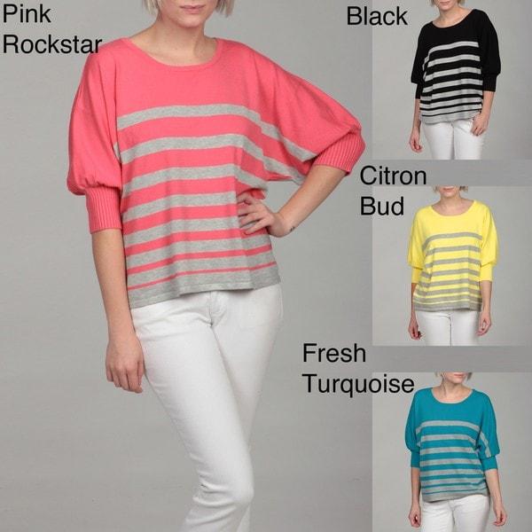 Thea By Chelsea & Theodore Women's Stripe Dolman Sleeve Sweater