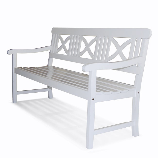 Bradley Outdoor Acacia Wood White Bench Free Shipping Today 14037705