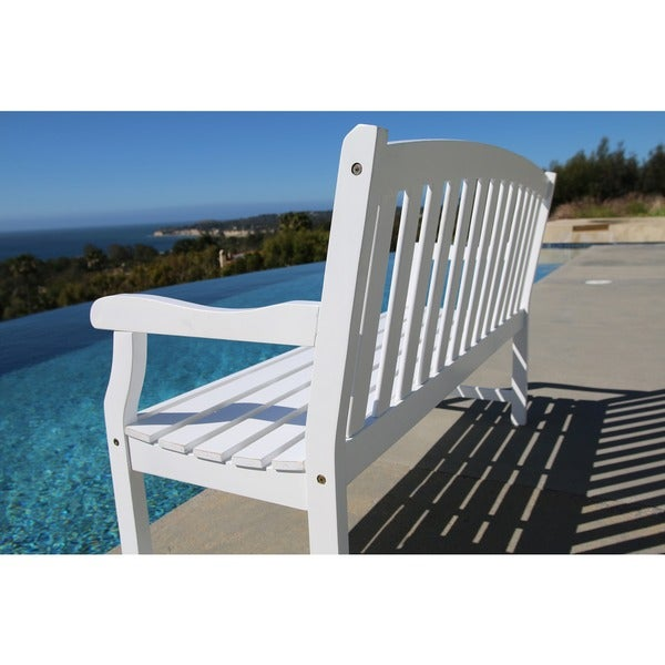Bradley Outdoor White Weather Resistant Wood Bench Free Shipping