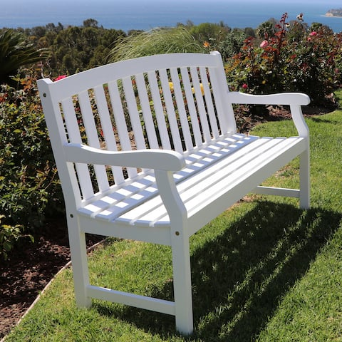 Surfside Outdoor White Weather Resistant Wood Bench by Havenside Home