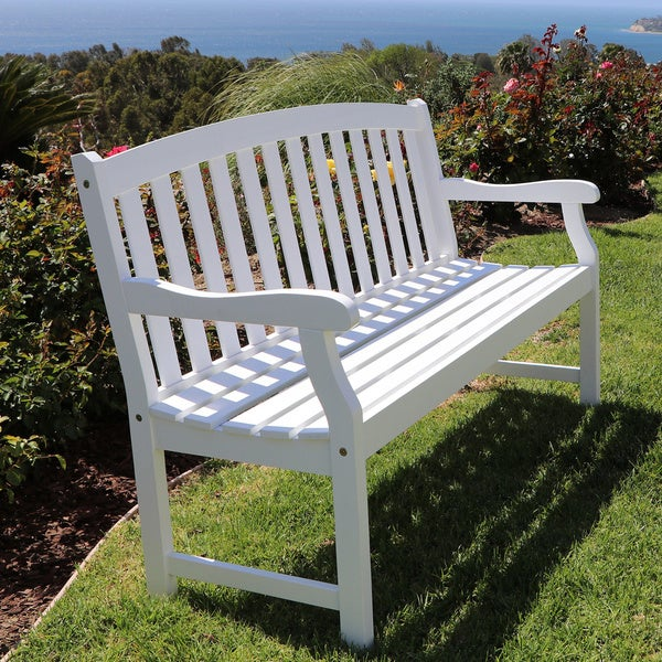 Bradley Outdoor White Weather Resistant Wood Bench Free Shipping Today 14037707