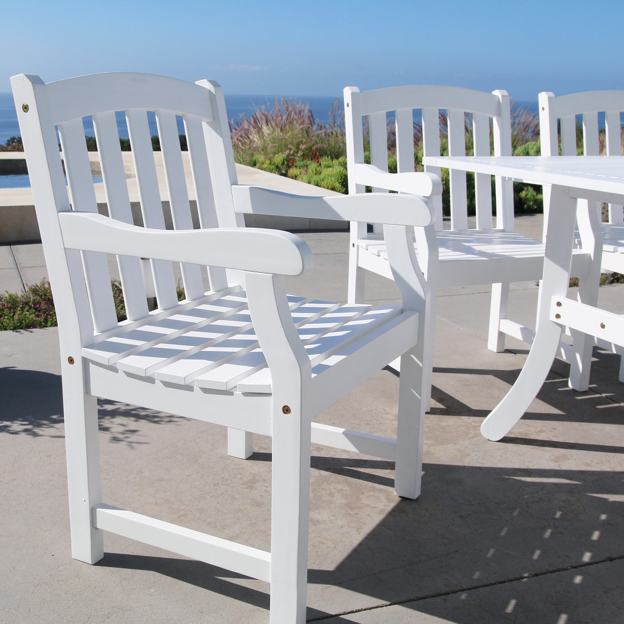 Bradley Outdoor Slat-Back Wood Armchair
