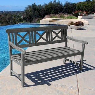 Havenside Home Surfside Weather-Resistant Outdoor Hand-Scraped Hardwood Bench
