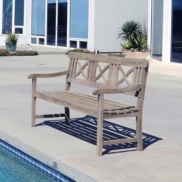 Renaissance Weather-Resistant Outdoor Hand-Scraped Hardwood Bench