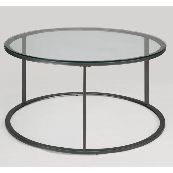 Round Glass Top Metal Coffee Table   Free Shipping Today   Overstock.com    14037744