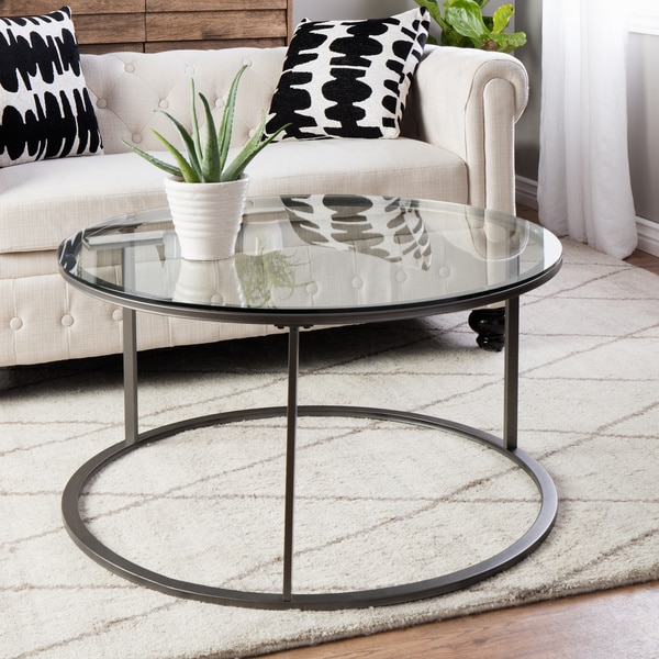 25 Inch Round Glass Coffee Table: Shop Clay Alder Home Round Glass Top Metal Coffee Table