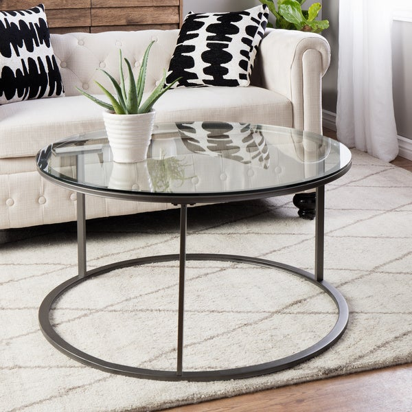 Clay Alder Home Round Glass Top Metal Coffee Table - Free Shipping ...