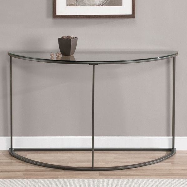 Shop Round Glass Top Metal Sofa Table Free Shipping Today