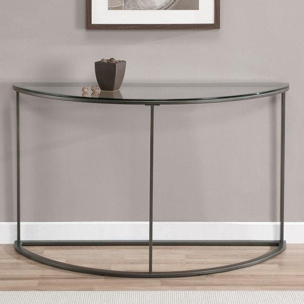 Round Glass Top Metal Sofa Table