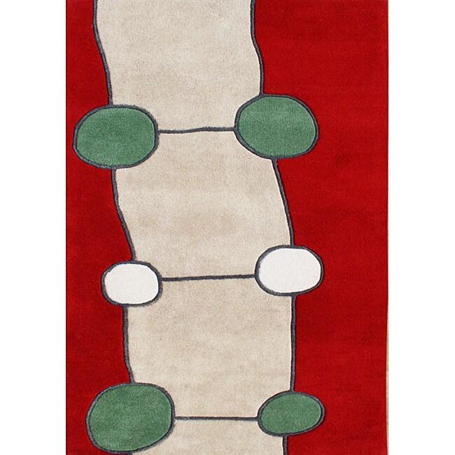 Handmade Red New Zealand Wool Rug (4' x 6')