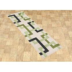 Alliyah Handmade Beige Puzzle New Zealand Blend Wool Rug - Thumbnail 1