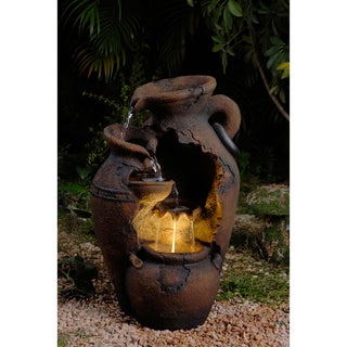 Old-Fashioned Pot LED-Lit Water Fountain