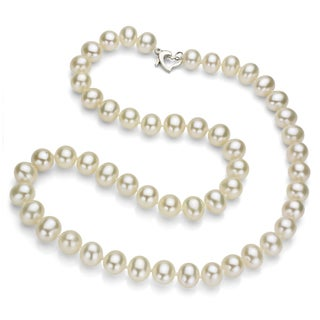 DaVonna Silver White Freshwater Pearl Necklace with Gift Box (8-9 mm)