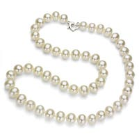 DaVonna Sterling Silver 7-8 mm White Freshwater Pearl Necklace with Gift Box