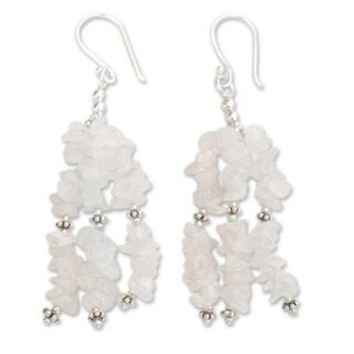 Handmade Sterling Silver 'Rejoice' Moonstone Waterfall Earrings (India)