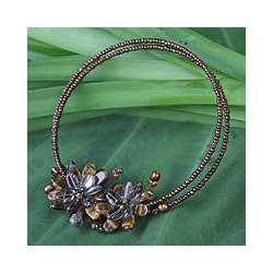 Handmade Tiger's Eye 'Honey Bouquet' Quartz Pearl Choker (6-6.5mm) (Thailand)