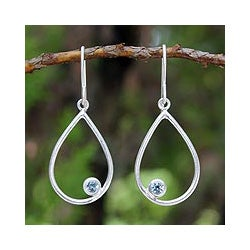 Sterling Silver 'Rain' Blue Topaz Dangle Earrings (Thailand)