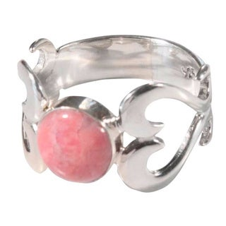 Handmade Sterling Silver 'Pink Love' Rhodonite Ring (Peru)