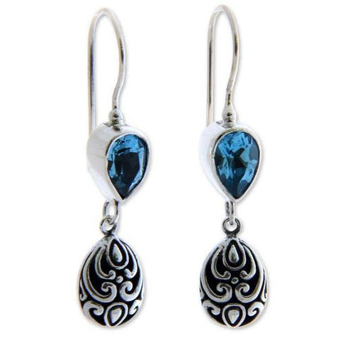 Handmade Sterling Silver Lotus Bud Blue Topaz Earrings (Indonesia)