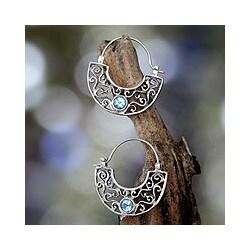 Sterling Silver 'Blue Jasmine' Blue Topaz Hoop Earrings (Indonesia)