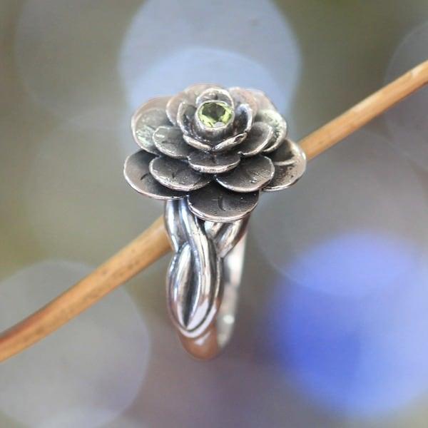 Handmade Sterling Silver 'Holy Lotus' Peridot Flower Ring (Indonesia)