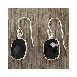 Handmade Sterling Silver 'Delhi Darkness' Onyx Dangle Earrings (India)