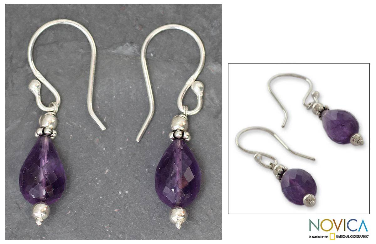 Sterling Silver 'Jagannath Mystique' Amethyst Dangle Earrings (India)
