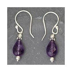 Sterling Silver 'Jagannath Mystique' Amethyst Dangle Earrings (India)