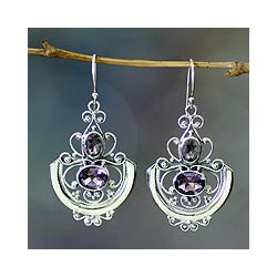 Sterling Silver 'Balinese Goddess' Amethyst Earrings (Indonesia)