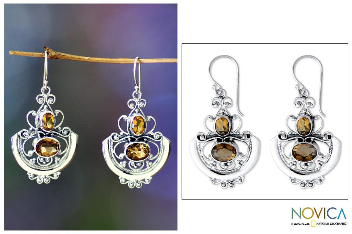 Sterling Silver 'Balinese Goddess' Citrine Dangle Earrings Indonesia)