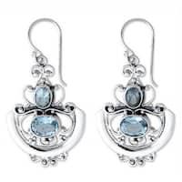 Handmade Sterling Silver 'Balinese Goddess' Blue Topaz Earrings (Indonesia)