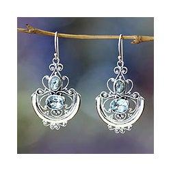 Handmade Sterling Silver 'Balinese Goddess' Blue Topaz Earrings (Indonesia)