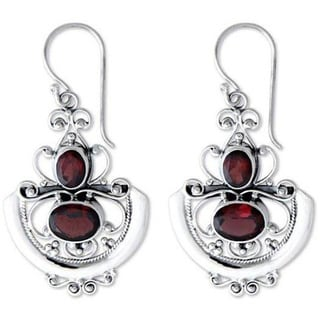 Handmade Sterling Silver 'Balinese Goddess' Garnet Dangle Earrings (Indonesia)