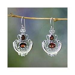 Sterling Silver 'Balinese Goddess' Garnet Dangle Earrings (Indonesia)