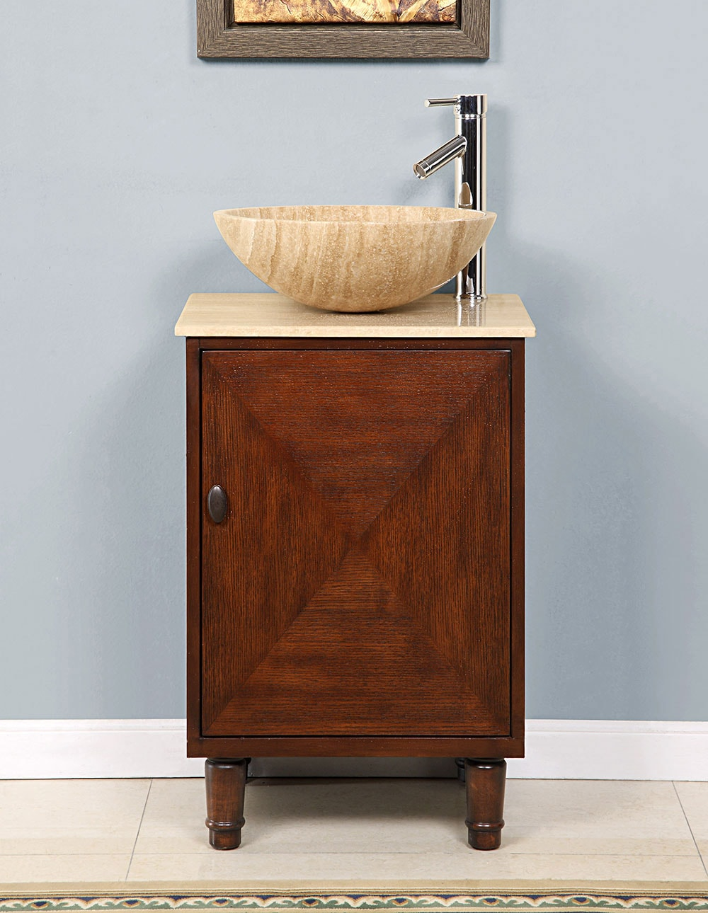 Bathroom single sink cabinets - Silkroad Exclusive Stone Countertop Bathroom Vessel Single Sink Cabinet Vanity