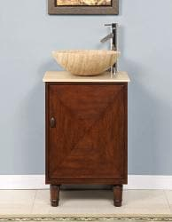 Silkroad Exclusive Stone Countertop Bathroom Vessel Single Sink Cabinet Vanity