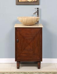 Silkroad Exclusive Stone Countertop Bathroom Vessel Single Sink Cabinet Vanity