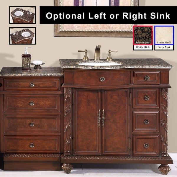 Top Of Counter Sink : Silkroad Exclusive Stone Counter Top Bathroom Single Sink Cabinet ...