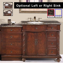 Silkroad Exclusive Stone Counter Top Bathroom Single Sink Cabinet Vanity (56-inch )