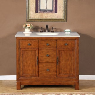Silkroad Exclusive Natural Stone Countertop Lavatory Single Sink Cabinet Vanity (42-inch)