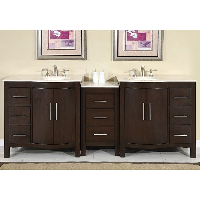 Silkroad Exclusive Stone Counter Top Double Sink Cabinet Bathroom Vanity Lava