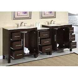 Silkroad Exclusive Stone Counter Top Double Sink Cabinet Bathroom Vanity Lavatory (89-inch) - Thumbnail 1